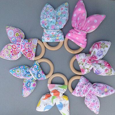 Segurança de madeira Baby Care Natural Teethers Chew Coelho anel da flor Teether Coelho Toy Sensorial