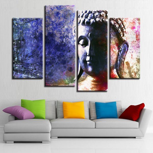 Canvas Painting For Living Room Home Decor Wall Art 4 Pieces Buddhism Abstract Buddha Statue Pictures HD Prints Poster Framework