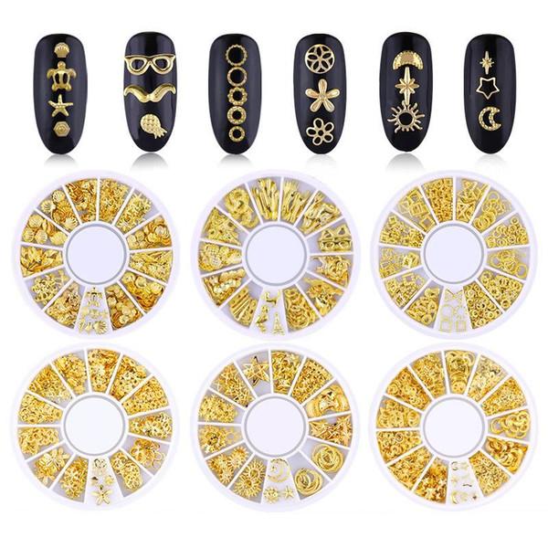 Tamax NA008 Mixed Style 3D Gold Metall Nieten Nail Art Runde Herz Dekoration Nägel Aufkleber Maniküre Nagel DIY Zubehör in Rad