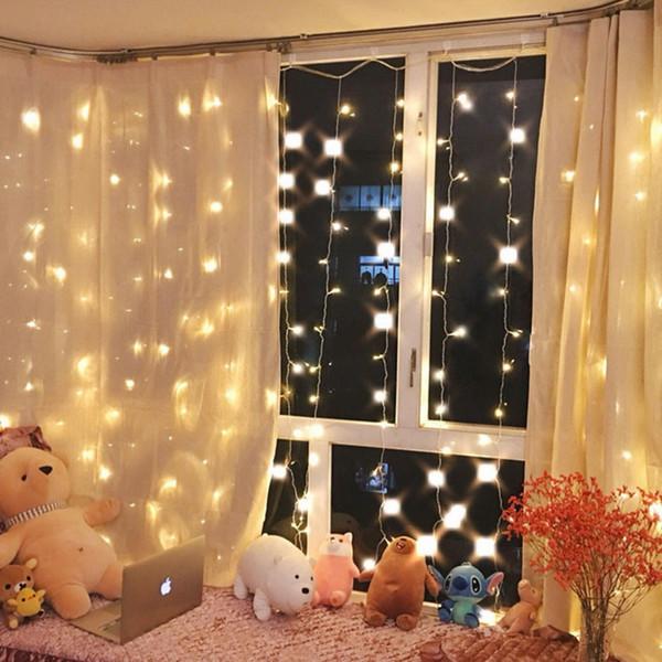 크리스마스 트윙클 스타 (300) LED 창 커튼 문자열 조명 웨딩 파티 홈 정원 침실 야외 실내 벽 장식, 따뜻한 화이트