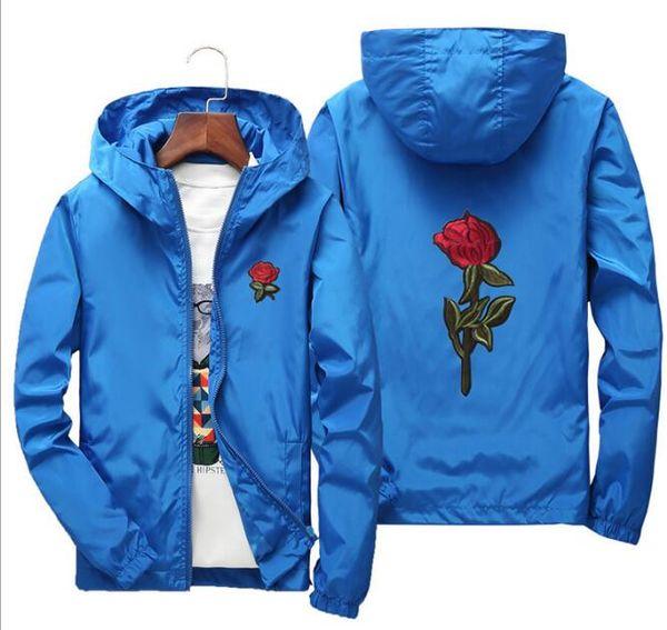 Mens Rose Jacket Windbreaker Couples dress Men Womens Jacket New Fashion White Black Roses Outwear Coat Rose Patch Clothing 110-200CM CQ046