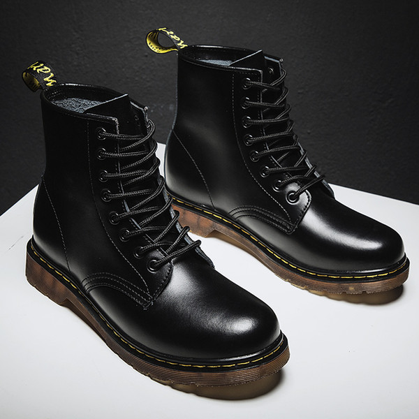Large Size Men Boots Lace-up Genuine Leather Ankle Motorcycle Boots British Style Male Shoes Outdoor Desert Boots Size 35-46