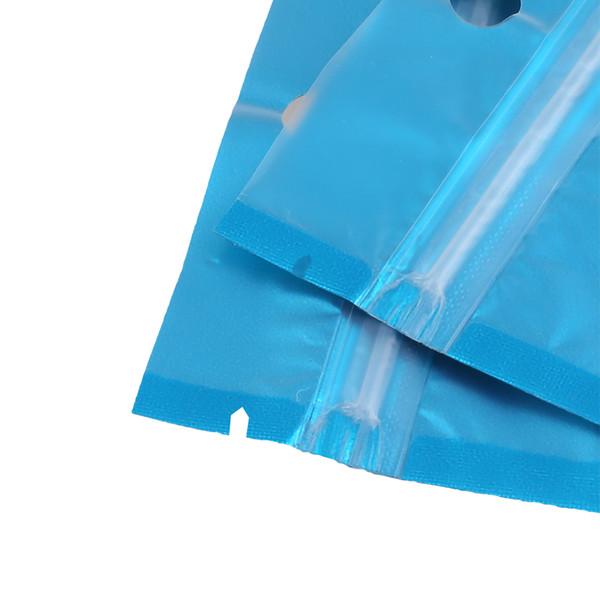 100 stücke Transluzent Mattblau Heißsiegeln Flache Aluminiumfolie Mylar Kunststoff Zip Lock Pouch Taschen