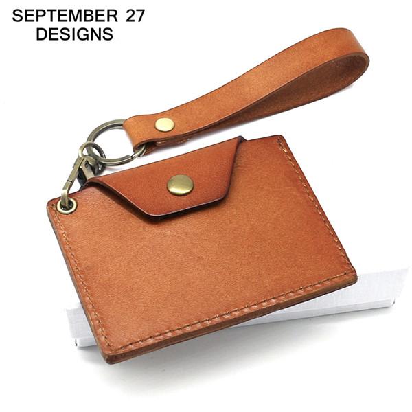 Titular de la credencial ID de cuero genuino ID titular de la tarjeta bus titulares de banco llavero mini billetera bolsos pequeños bolsa de dinero