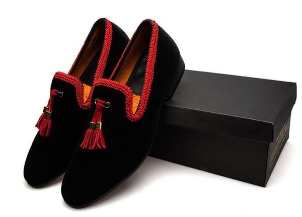 Chegada nova dos homens borla Mocassins Mocassins Deslizamento No Estilo chinês de Couro Sapatos Casuais Masculinos Preto / Vermelho Flats Loafers Men Dress Shoes 38-46
