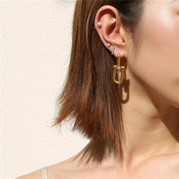 top popular 2020 Women Punk Earrings Vintage Metal Link Chain Earrings for Women Hiphop Earring U chain Brincos Gothic Jewelry Gold Earrings 2021