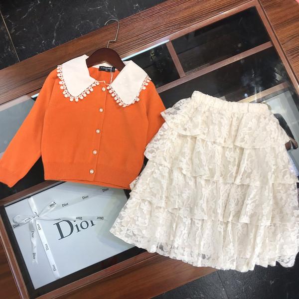 Girls cake skirt sets kids designer clothes solid color lapel sweater + lace blend cake skirt 2pcs autumn sweet cute wind setss