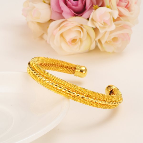Bangrui etíope Venta al por mayor de color dorado Pulsera brazalete etíope brazalete Mujeres africanas joyería Oro Dubai brazaletes de gran círculo