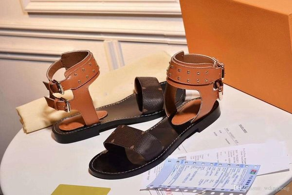 2018 Luxury Designer Shoes Women Sandals Geunine Leather Formal Evening Designer Slides Summer Beach Women Shoes Real Pic With box
