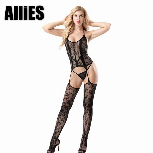 Women Sexy Mesh Bodystocking Lace Erotic Open Crotch Garter Babydoll Sleepwear Nighty Intimates Lingerie Sleep Skirts#