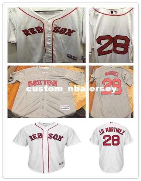 Cheap Custom JD Martinez #28 White Gray Cool Base jerseys Stitched Retro Mens jerseys Customize any name number baseball jersey XS-5XL