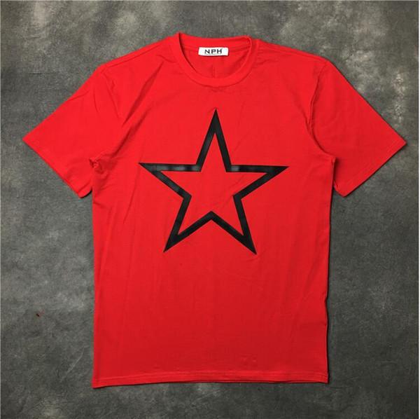 Hommes Noir Big Star T Shirts Hip Hop Planche À Roulettes Rue Coton Rouge Designer T-Shirts