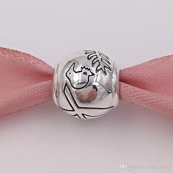 Аутентичные стерлингового серебра 925 бусины новозеландский папоротник киви серебро очарование подходит европейский пандора стиль ювелирные изделия браслеты ожерелье 791363