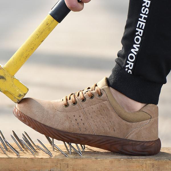 Männer Sicherheit Arbeitsstiefel Männlich Echtes Leder Atmungsaktive Stahlkappe Stiefel Herren Arbeitsversicherung Mode Wüste Arbeit