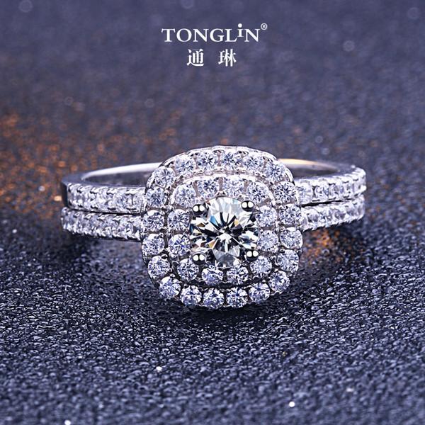 TONGLiN 2018 Klassische Luxus Echt Solide 925 Sterling Silber Ring 4,5mm Herzen Pfeile Zirkon Hochzeit Engagement Schmuck Ringe Set