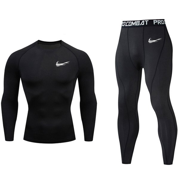 MMA tactical compress rashgard camiseta manga larga conjunto kit de 2 piezas chándal hombres camiseta Q190523