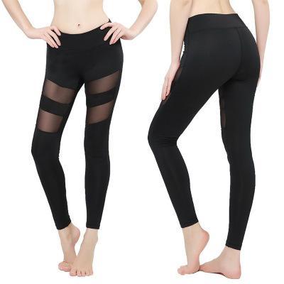 Leggings das mulheres Outono Primavera Aptidão Plus Size Esportes Calças de Yoga Sexy Oco Leggings Calças Apertadas Tamanho de Malha S-3XL