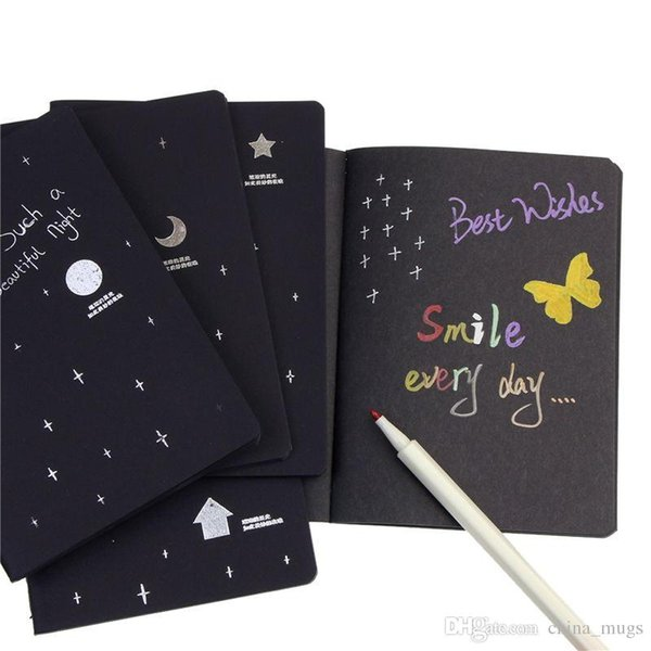 New Sketchbook Notebook Diary for Drawing Painting Graffiti Soft Cover Black Paper Sketch Book Notebook Office School Supplies Gift