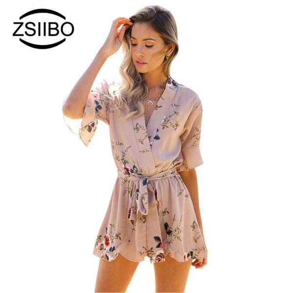 ZSIIBO Red Floral Print Ruffles Playsuits Women Elegant Autumn White V Neck Jumpsuits Rompers Sexy Beach Girls Short Overalls