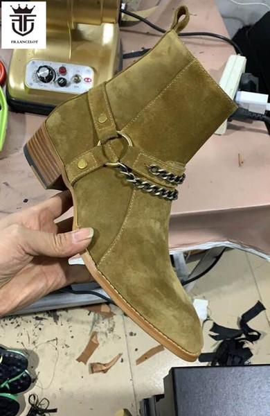 2020 Fashion sliver chains men boots men ankle Boots men western boots 5cm heel uniq color party shoes male
