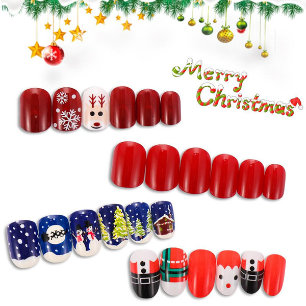 24pcs / Set Vente Hot PARFAITEMENT Noël resuable Nail Stickers Faux avec de la colle Femmes Forme Ronde Nail Art Manucure Décoration