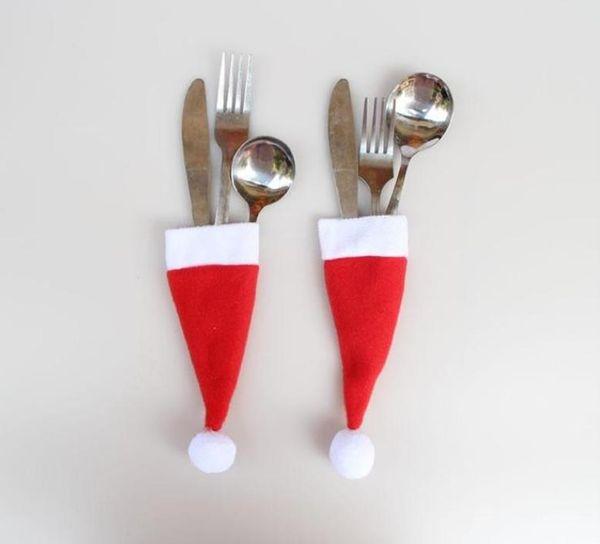 Heißer verkauf Weihnachtsmann Weihnachten Mini Hut Indoor Abendessen Löffel Gabeln Dekorationen Ornamente Weihnachten Handwerk Versorgung Party Favor Navidad freies schiff