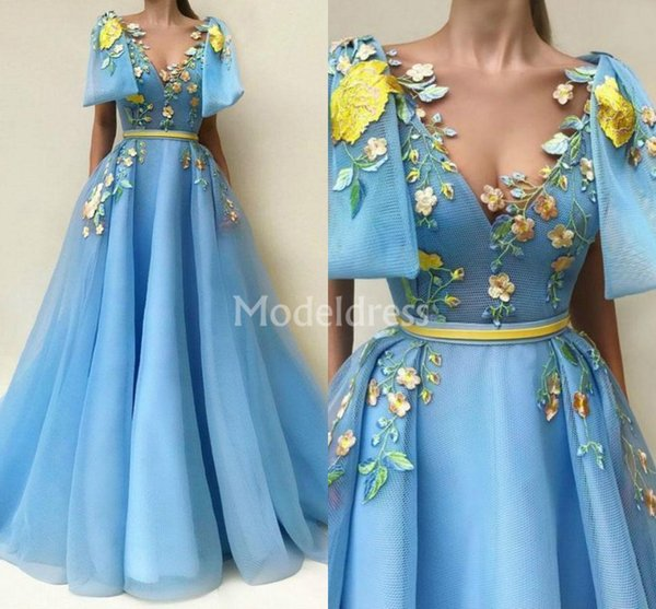 Charming Blue Prom Dresses A-Line Tulle Floor Length Embroidery Formal Party Evening Gown With Pockets Appliques Chic Special Occasion Dress