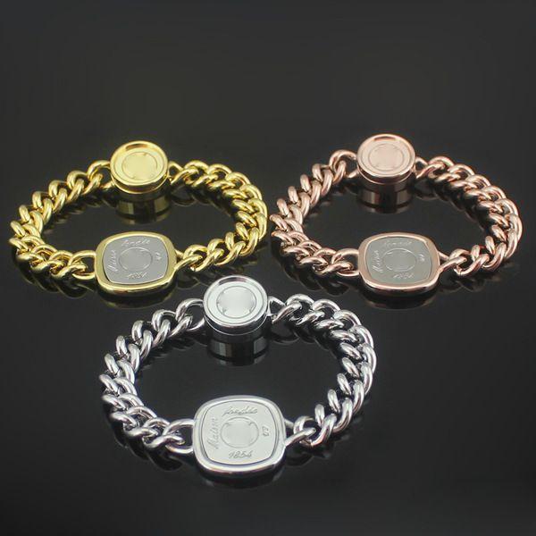 2018 Low price wholesale L metal Square card coarse lady men love Bracelet 18 K gold bracelets brand fashion charms jewelry gift