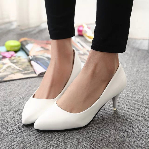 Designer Dress Shoes Woman Wedding White bridal For Ladies Dress Spring Autumn Women Boat Med Heeled Plain Basic Pumps 30h17