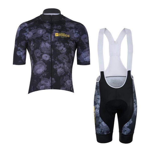 MORVELO ekibi Bisiklet Kısa Kollu forması önlük şort Yaz Erkek Hızlı Kuru Tam Fermuar Giyilebilir Nefes giysi U91924 setleri