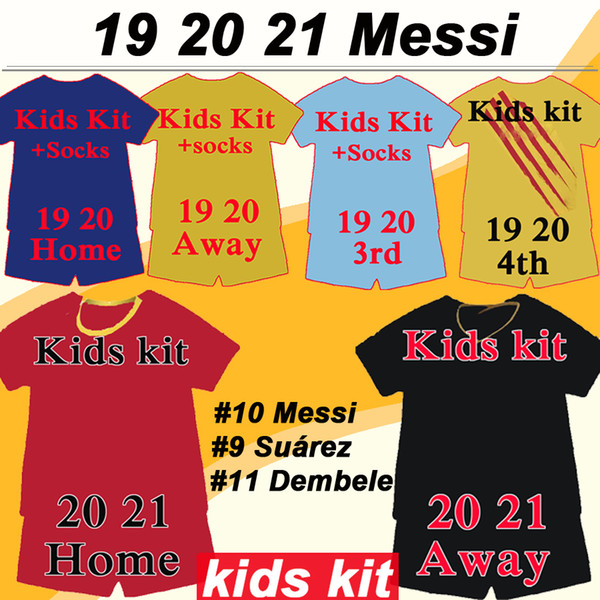 best selling 19 20 MESSI GRIEZMANN Kids kit Soccer Jerseys RAKITIC SUAREZ PIQUE Home Away Football Shirts DE JONG DEMBELE F. DE JONG RAFINHA Suit