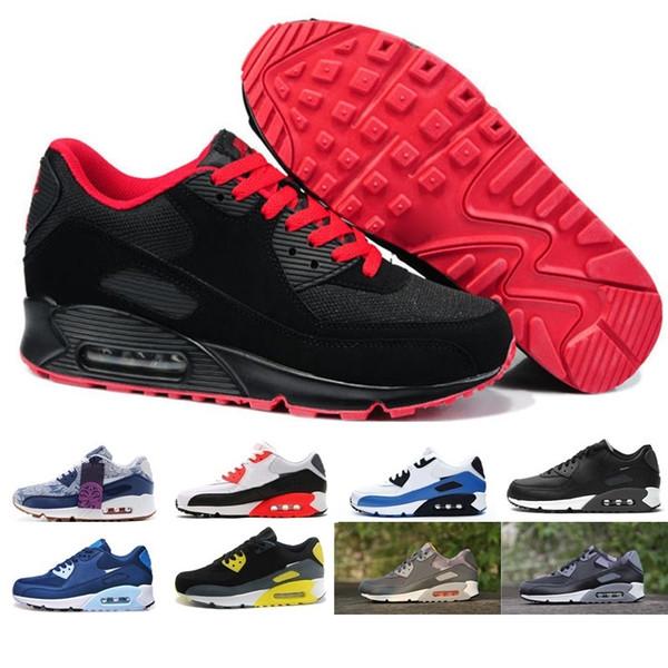 nike air max 90 airmax 2019 nuevos zapatos para correr 90 Cojín clásico Zapatos Hombres Mujeres Deportes Negro Rojo Blanco Trainer Aire calzado transpirable Air90 lona BM8896
