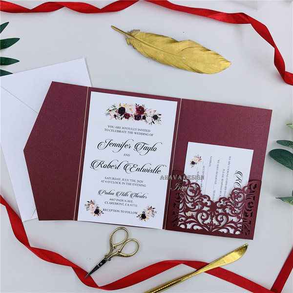 Diy Invitation Kit Burgundy Laser Cut Invites For Wedding Quince Sweet Sixteen Laser Cut Pocket Invites With Belly Band Templates For Wedding