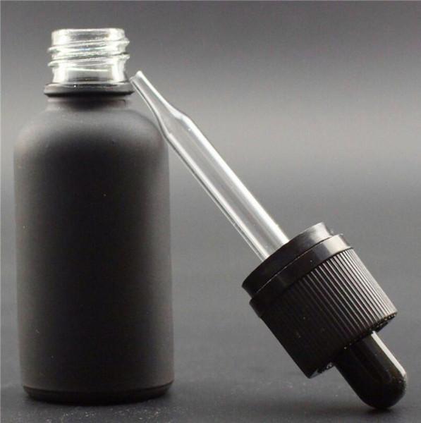 En gros 330pcs 30ml Noir en verre dépoli bouteille avec compte-gouttes huile essentielle bouteille verre pipette compte-gouttes
