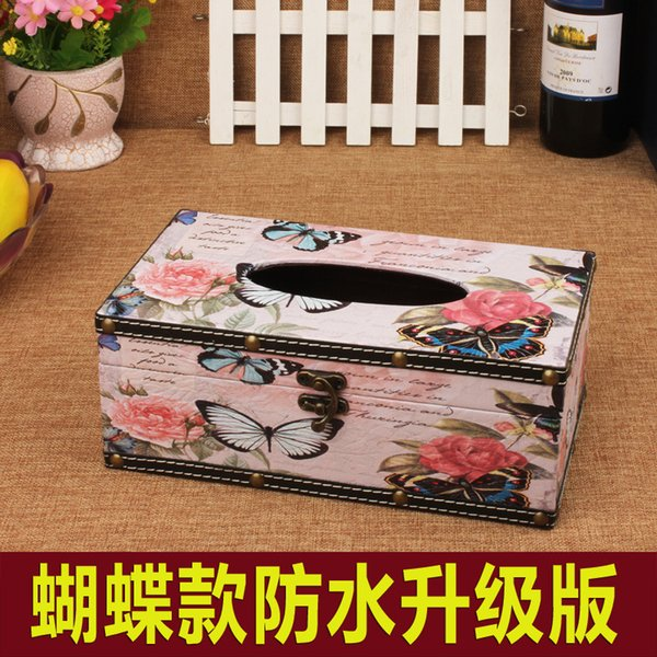 Waterproof Vintage Butterfly Rose Tissue Box PU Leather Napkin Tray Display Car Living Room Conference Bar Cafe Gift Gift Other