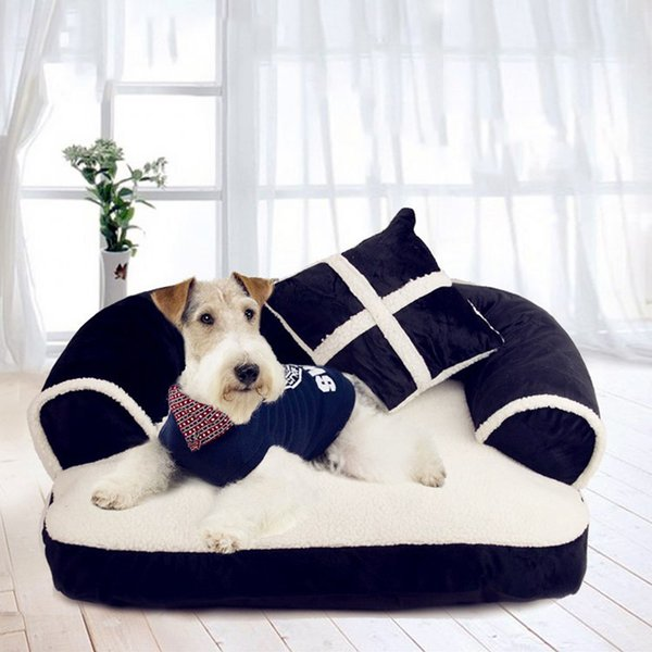 top popular Luxury Double-Cushion Pet Dog Sofa Beds With Pillow Detachable Wash Soft Fleece Cat Bed Warm Small Dog Bed 2020