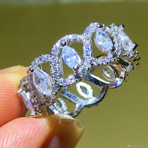 2019 luxus voller stein CZ Schmuck Marke 925 Sterling silber Marquise Cut Simulierte Diamant CZ Engagement Hochzeit Ringe Für Frauen