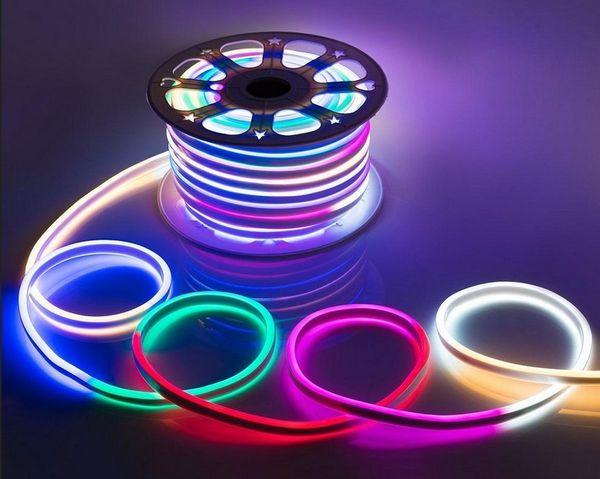Ac 110 240v Flexible Rgb Led Neon Light Strip Ip65 Multi Color Changing 120leds M Led Rope Light Outdoor Remote Controller Power Plug Lf Led