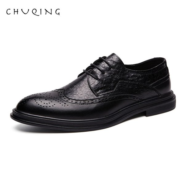 CHUQING Mens Dress Slides Zapatos Mode Leder Helle Business De Hombre Brougue Hochzeitsschuhe