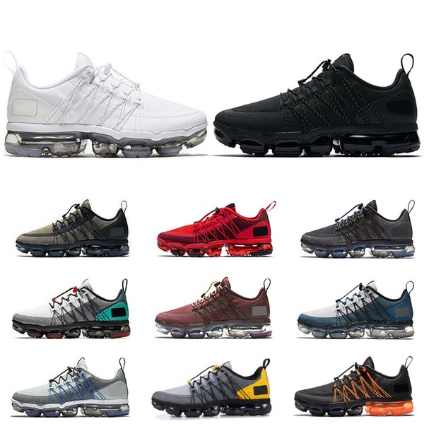 low priced 80345 ed7b3 2019 nike air vapormax run utility running chaussures de course pour homme  triple noir blanc TROPICAL