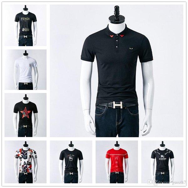 La camiseta de algodón de manga corta de lujo de la camiseta de los hombres del verano remata la camiseta del algodón de los hombres de la impresión del ojo de los hombres Envío libre