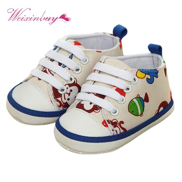 Neonato Ragazzi Ragazze Cute Animal Lace-Up Comodo Prewalker Toddler Soft Suola Scarpe antiscivolo