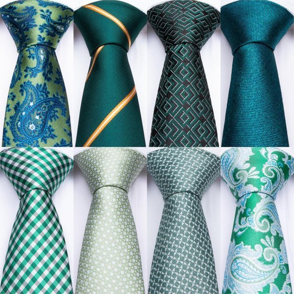 2020 Green Teal Ties For Men Hanky Cufflinks Set 17 Styles Necktie For Male Business Wedding Party Mens Ties New Arrival