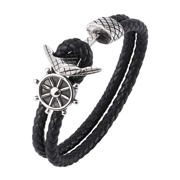 Bracelet vintage en cuir tissé noir double bracelet en cuir Bracelet en acier inoxydable de la mode des hommes glamour 7-SP0182