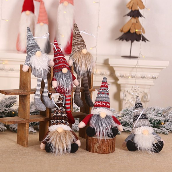 1pc christmas knitted plush gnome doll christmas tree wall hanging pendant ornament party decor gift tree decorations