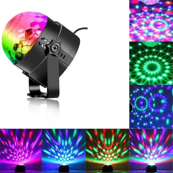 ABD Stok Disko Topu Strobe Parti Işıkları Disko Işıkları Karaoke Makinesi 3 W Dj Işık LED Taşınabilir RGB Ses Aktive Sahne Işıkları Festivali