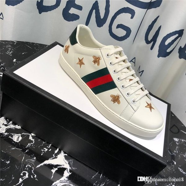 2019 Mens 182020 Shoes White Leather Ace Embroidered Loved Sneakers Rubber  Sole Men Women Platform Ace Shoes 19ssGucci From Nickmoees, $92.94