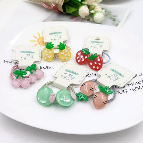 best selling Children's accessories baby Fruit hair Little girl hair tie fruit rubber band Princess girl's headdress leather band