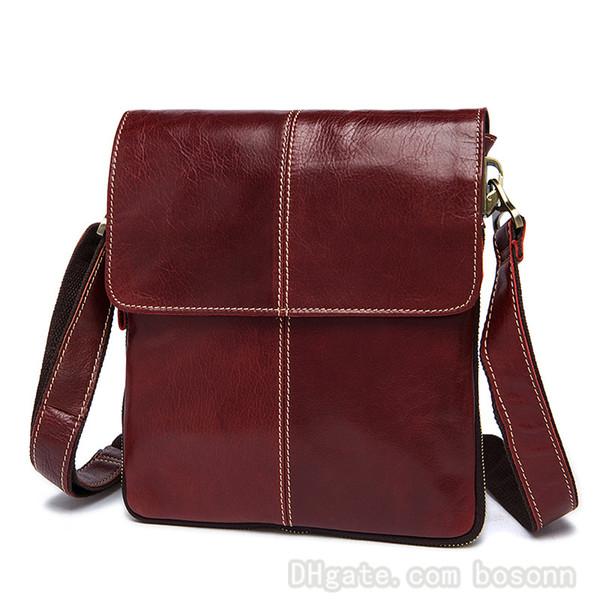Brand Genuine Leather Messenger Bag for Men Vintage Business Crossbody Bag Designer Vertical Flip Cover Shoulder Bag