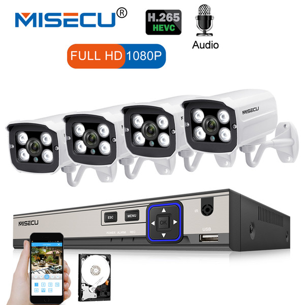 MISECU 4CH 1080P Network POE NVR Kit Audio Record 2.0MP IP Camera Outdoor Waterproof IR Night Vision Surveillance Camera System
